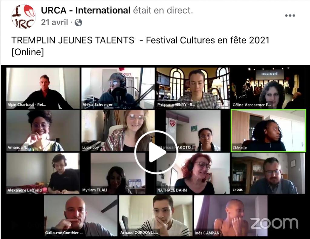 image d'un tremplin jeunes talents par zoom, organisé par l'URCA de Reims. plusieurs carrés avec des visages de jeunes et de jurys. chanson, musique, slam