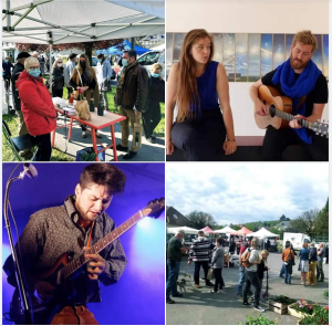 quatre photos de marché et d'artistes lucie joy viktor avec un k et rafi pour le concert de st agnan